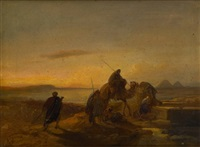 caravane arrivant au puits (orientaliste) by jacob jacobs