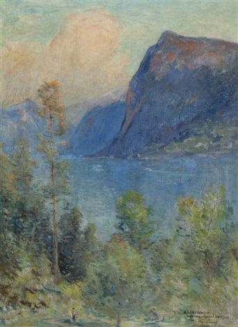 lucerne lake with figures in the foreground by colin campbell cooper