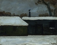 garden houses in snow by johan hendrik van ieperen