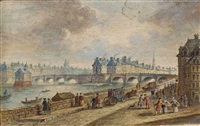 personnages devant les quais de seine parisiens (+ 3 others, various sizes; 4 works) by henri-joseph van blarenberghe