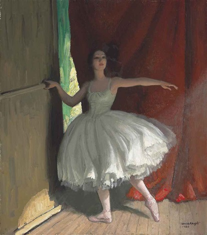 awaiting her turn ready for her act by dame laura knight