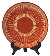 red plate with feather design by popovi da and maria martinez