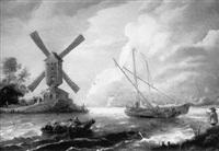 moulin sur les bords d'une rivière animée de barques de pêcheurs by bonaventura peeters the younger