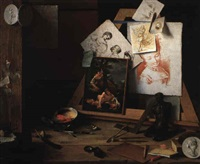 trompe l'oeil still life of artist's tools, prints, sculpture and other effects by antonio cioci