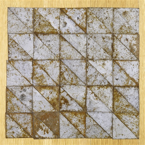50 triangles forming a square in 50 parts by carl andre