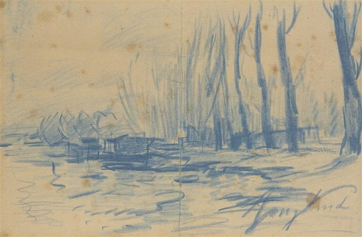 paysage (on 2 sheets) by johan barthold jongkind