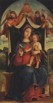 vierge à l'enfant avec deux anges by bernardino di bosio zaganelli