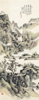 卢挚诗意图 (secluded dwellings in verdant mountain) by huang binhong