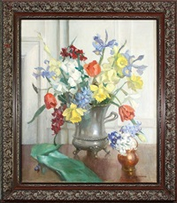 flowers in a silver urn by marguerite stuber pearson