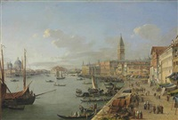 a view of venice with the doge's palace, saint mark's campanile and santa maria della salute by robert roberti