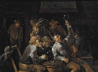 peasants drinking and smoking in a tavern by egbert van heemskerck the younger
