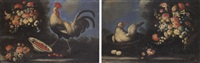 un gallo, cigliegie e fiori in un paesaggio by giuseppe pesci