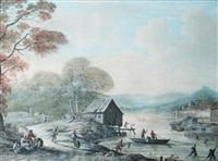 paysage fluvial animé by henri-joseph van blarenberghe