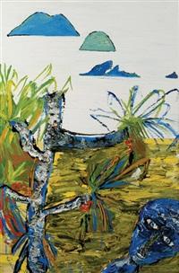 figure in pandanus landscape by davida allen
