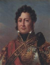 portrait du duc d'orléans, futur louis-philippe, en costume de général des hussards by henri-joseph hesse