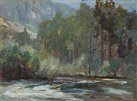 rushing river at the base of a mountain by jack wilkinson smith