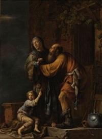 abraham pleading with sarah on behalf of hagar by willem bartsius