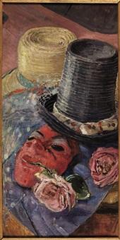 natura morta con maschera di carnevale by domenico buratti