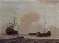 a dutch ship and two fishing boats in a moderate breeze at sea by adam silo