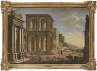 an architectural capriccio with an ionic portico, a fountain, a two story loggia, a gothic palace and figures on a quay (collab. w/jan miel) by alessandro salucci
