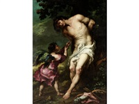 saint sebastian tended by an angel by juan de valdés leal