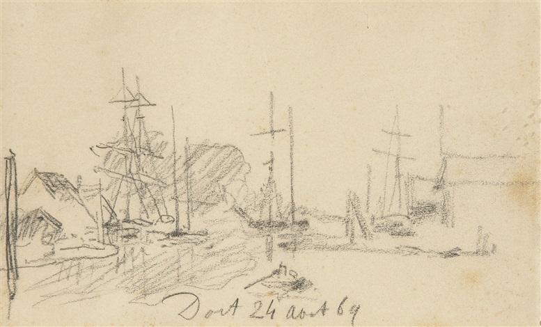 bateaux au port by johan barthold jongkind
