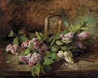 lilacs in a basket by marie-lucie cornelius