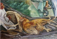 nature morte au coq by andré favory