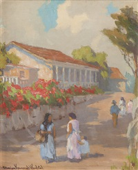 women on a street in monterey by marion kavanaugh wachtel