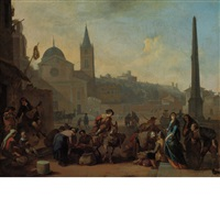 figures in the piazza del popolo, rome by johannes lingelbach