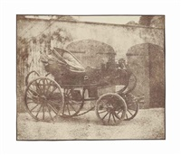 a barouche parked in the north courtyard of lacock abbey, april 1844 by william henry fox talbot