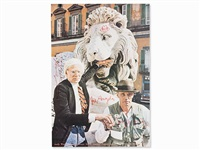 joseph beuys and andy warhol in front of a sculpture of a lion (after photo by mimmo jodice) by joseph beuys and andy warhol