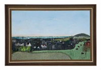 spring landscape - view of middletown and sandy hook by henry thomas gulick