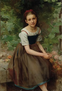 une jeune fille aux fleurs by charles victor thirion