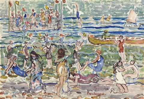 diving raft by maurice brazil prendergast