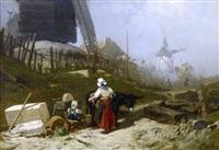les moulins à montmartre après l'effondrement de la butte by victor pierre huguet