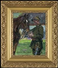 ulan with a horse by woiciech (aldabert) ritter von kossak