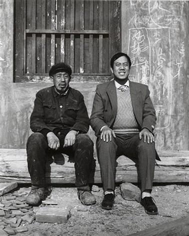 portrait two men on a log by zhuang hui