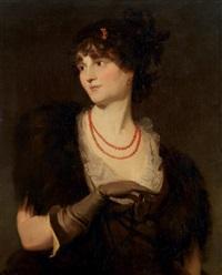 portrait de jeune femme tenant un médaillon by thomas lawrence
