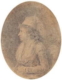 portrait de femme de profil gauche by augustin de saint-aubin
