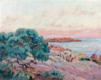 agay, ile besse, soleil couchant by armand guillaumin