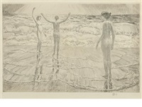 the beach, easthampton by childe hassam