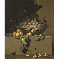 plums and figs in a basket, with apricots on a stone ledge, a snail and button mushrooms lower down by paul liegeois