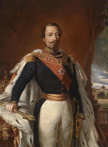 bildnis kaiser napoleon iii der die main de justice in der hand hält im hintergrund die tuilerien by franz xaver winterhalter