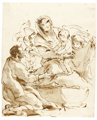 the holy family with angels by giovanni battista tiepolo