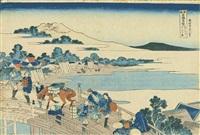 echizen fukui no hashi (fukui bridge in echizen province), from the series shokoku meikyo kiran (wondrous views of famous bridges in all the provinces) by katsushika hokusai