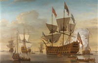 navire de guerre à trois ponts, traditionnellement identifié comme le royal william by samuel scott