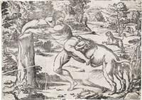 milone da crotone (after titian) by niccolo boldrini