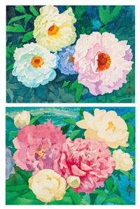 a.玉面桃花 b.富貴花 (peonys) (2 works) by ma baishui