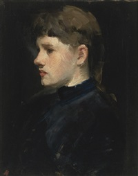 portrait of a lady (head of a girl) by frank duveneck